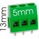 Borna 3Pin 13mm verde