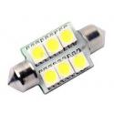 Bombillas Festoon 6 LED 5050 Blanco de 36, 39 y 44mm