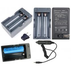 Cargador de Baterias de Litio 2x18650 de 3.7v. Red y Coche