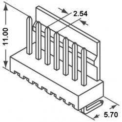 Conectores Molex KK Machos Acodados 2.54mm