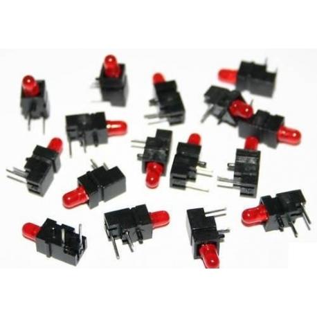 Soporte de plastico Acodado con Led 3mm Rojo