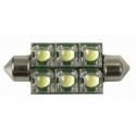 Festoon 6 LED Piraña Superflux 42mm