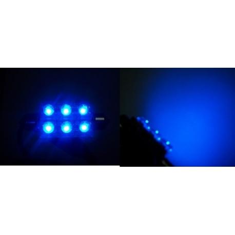 Festoon 6 LED Piraña Superflux 42mm azul