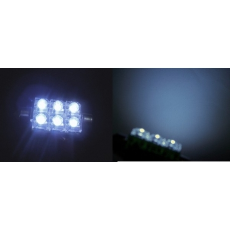 Festoon 6 LED Piraña Superflux 42mm blanco