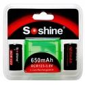 Baterías Soshine RCR123 3.0v 650mA Pack de 2
