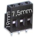 Bornas Circuito 19mm paso 7.5mm- Verde o Negra
