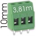 Bornas circuito impreso 10mm paso 3.81mm