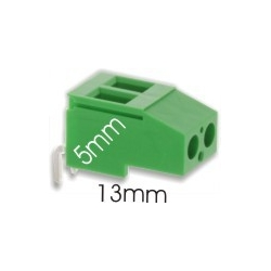 Borna acodada 2Pin 13mm verde