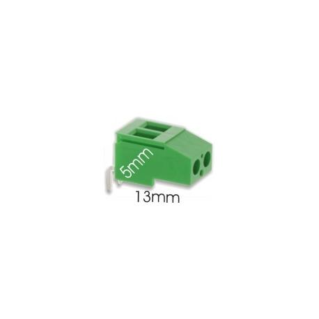 Borna acodada 2Pin 13mm verde