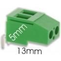 Bornes circuito impreso acodado paso 5mm Verde