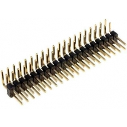Tira de Pines Doble Macho Acodado 2mm, 20 y 40 Pin