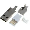 Conector USB-A Macho Blanco 4 Pin para Cable
