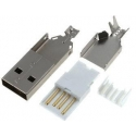 Conector USB-A Macho para cable 4 pin