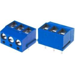 Bornas circuito impreso acodado 5mm Azul