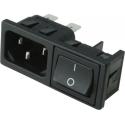 Base enchufe IEC-C14 macho con interruptor