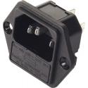 Base enchufe IEC-C14 macho con porta fusible