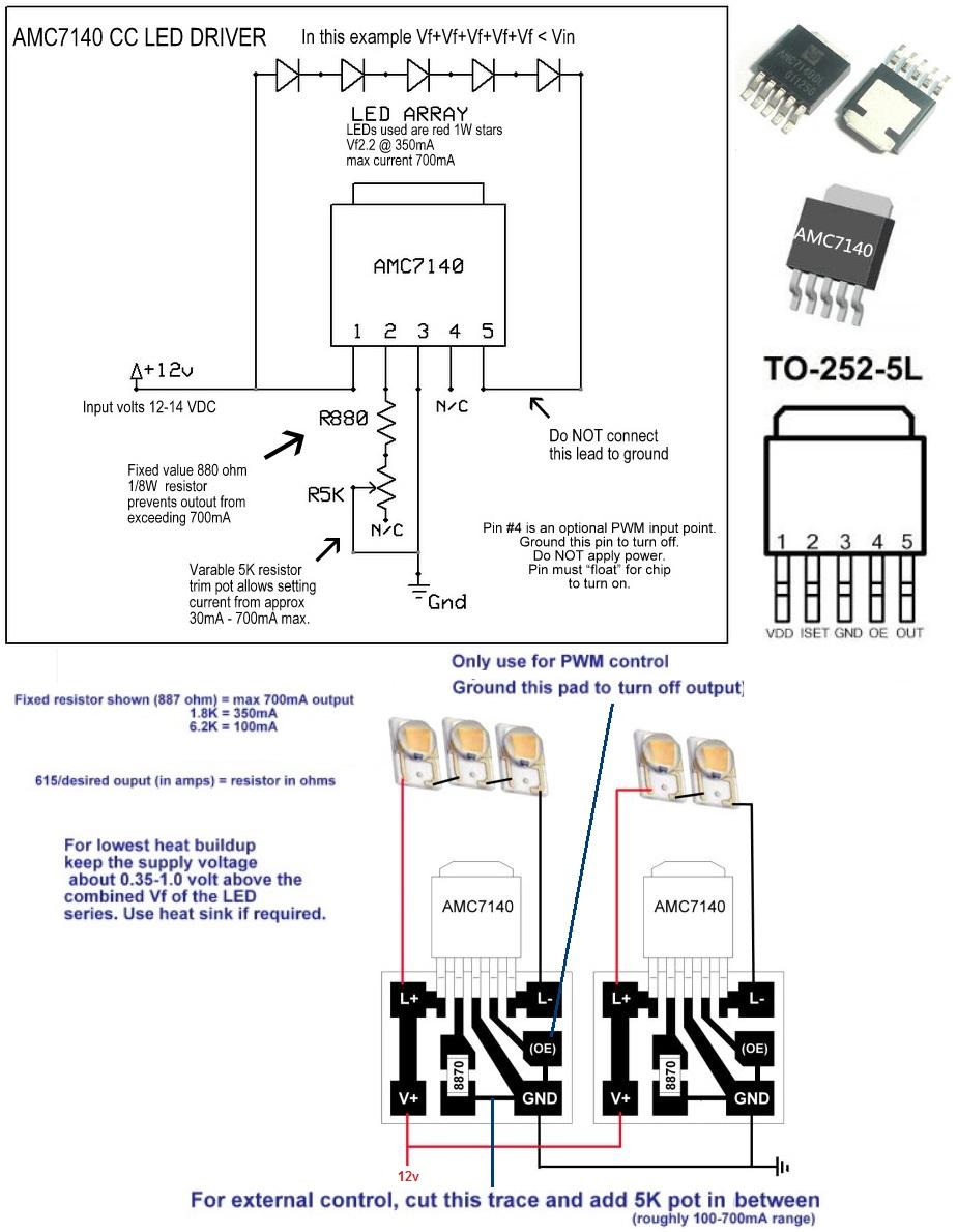 Regulador De Corriente Amc7140 Smd Para Led 700ma Lasers Diy Drivers 3v 5v 4 Amc7135 Flashlight Driver Circuit Apliamc7140