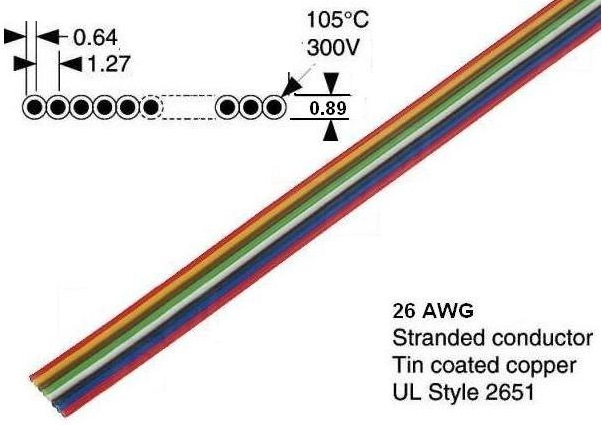 Cable Flat colores x 8