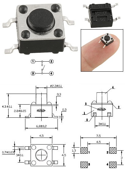 Tact switch de 4.5x4.5 smd