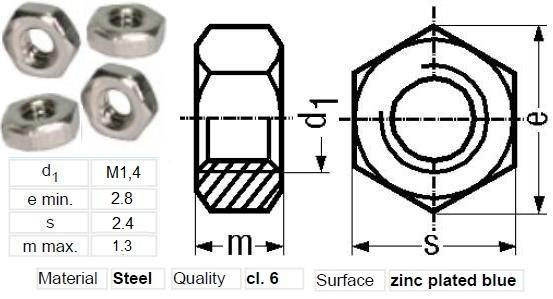 Tuercas M1.4mm-2.8.mm