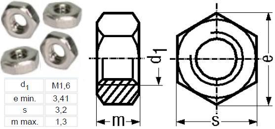 Tuercas M1.6mm